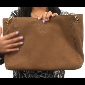 ToryBurch Marion Suede Chain-Shoulder Slouchy Tote